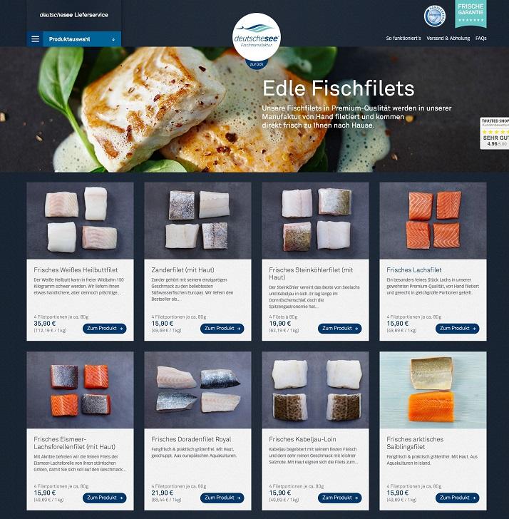 Deutsche See Fischmanufaktur: Online-Lieferservice (Screenshot)