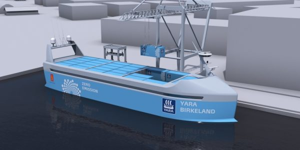 Düngemittelhersteller Yara entwickelt mit Kongsberg das erste emissionsfreie Containerschiff