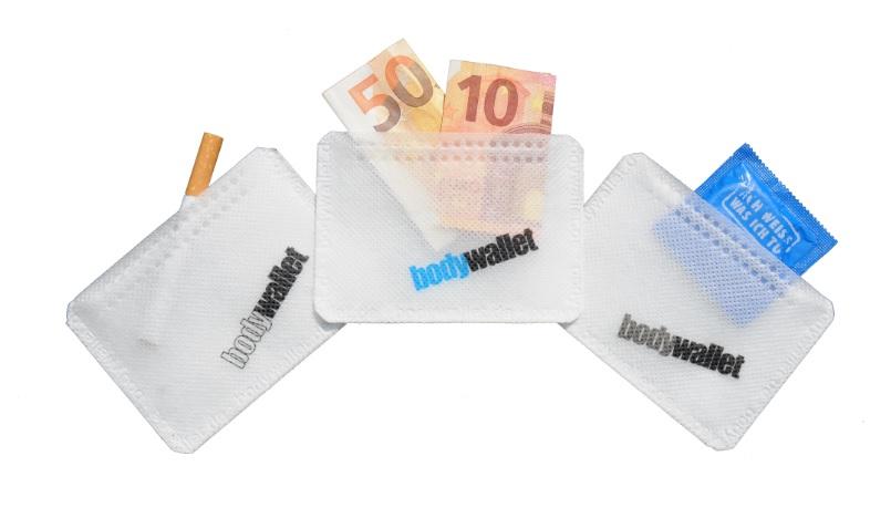 Bodywallet ist eine Geldbörse, die am Körper befestigt werden kann